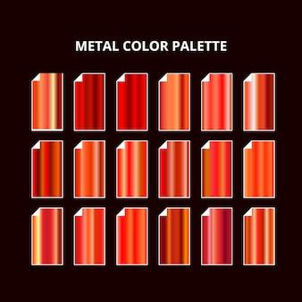 Palette de couleurs en métal. texture en acier rouge orange