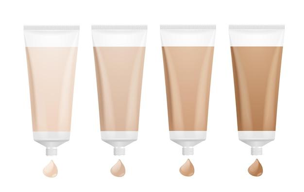 Palette de crème de fond de teint. ton différent pour la peau.