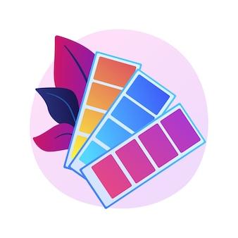 Palette d'échantillons de couleurs. éventail d'échantillons de peinture, couleurs de décoration intérieure, échelle du spectre. dessinateur graphique, guide, isolé