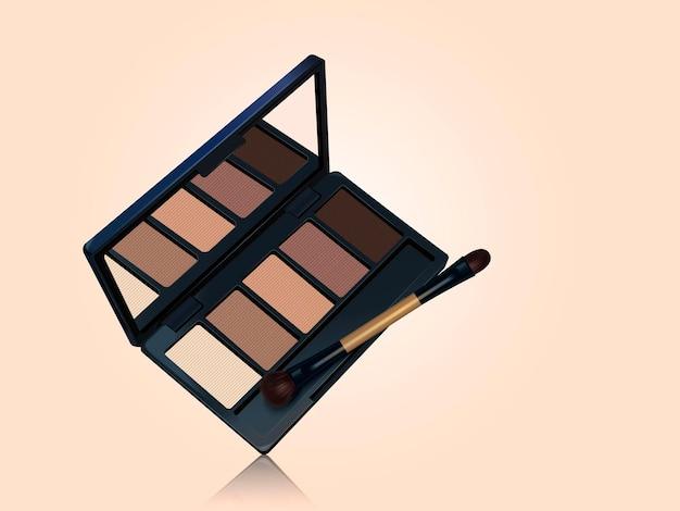 Palette d'ombres à paupières, outils de maquillage de couleur marron isolés