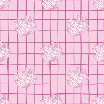 Palette rose laisse modèle sans couture de cluster. feuillage blanc avec contour rose et fond à carreaux.