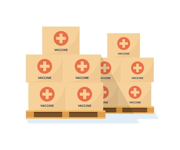 Palettes avec boîtes de vaccin contre le coronavirus. entrepôt avec vaccins covid. transport du vaccin. campagne anti-virus. style plat