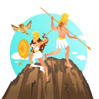 Pallas athene et ares mars dieu et déesse de la guerre