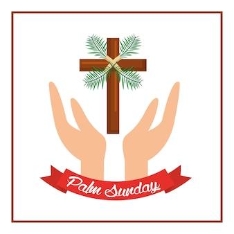Palm dimanche passion christ mains avec croix