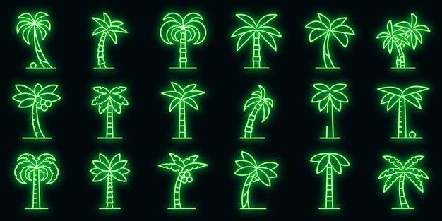 Palm icons set vector néon