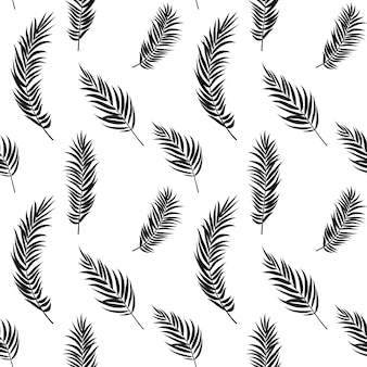 Palm tree leaf silhouette seamless pattern