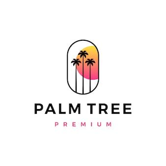 Palm tree sunset logo icône illustration