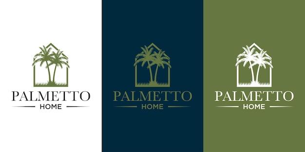 Palmetto et vecteur de conception de logo à la maison avec carte de visite de fond de modèle