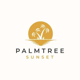 Palmier avec modèle de logo coucher de soleil.