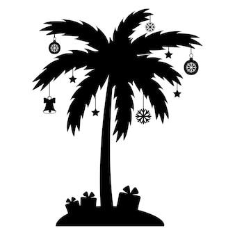 Palmier de noël avec guirlande et cadeaux, pochoir noir, illustration vectorielle isolée