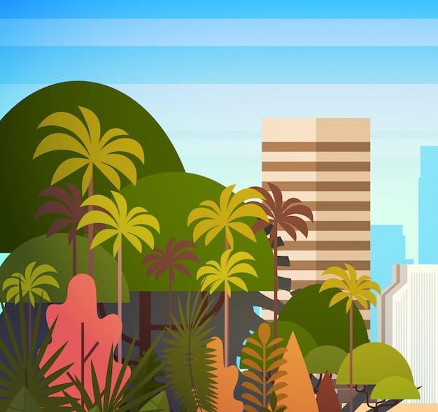 Palmier parc au-dessus des bâtiments de la ville, illustration de gratte-ciel été paysage urbain au coucher du soleil voir