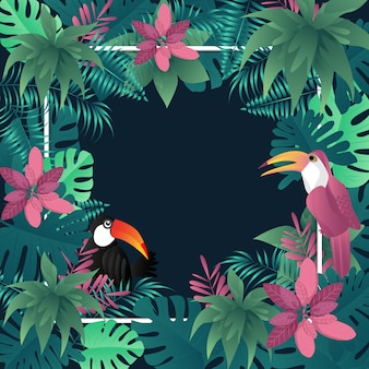 Palmier tropical fond été laisse oiseaux image vectorielle.