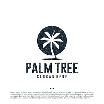 Palmier, vacances, modèle de conception de logo