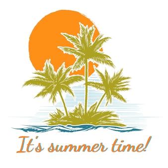 Palmiers Dans Le Paradis Ssland Au Coucher Du Soleil Illustration Vecteur gratuit