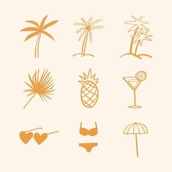 Palmiers d'été et collection de doodle d'autocollants de journal de motifs de vacances