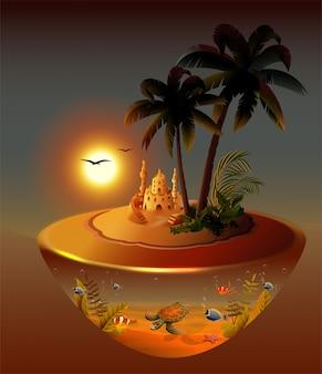 Palmiers de nuit tropicale île, mer, château de sable, lune, illustration du monde sous-marin