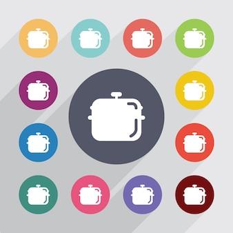 Pan, jeu d'icônes plat. boutons colorés ronds. vecteur