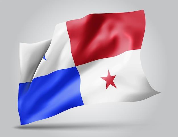 Panama, drapeau vectoriel avec des vagues et des virages ondulant dans le vent sur fond blanc.
