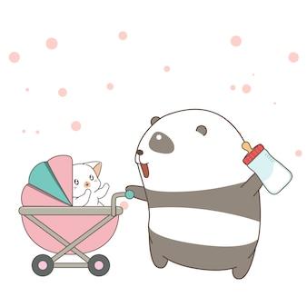 Un panda adorable nourrit un bébé chat