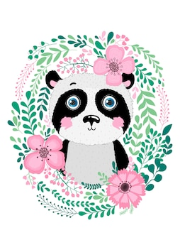 Panda animal dessiné main mignon