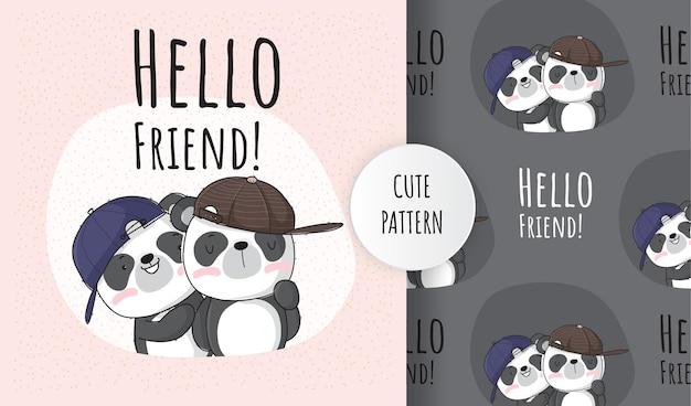 Panda animal mignon plat avec jeu de motifs amis
