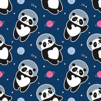 Panda astronaute modèle sans couture vole dans l'espace. illustration mignonne pour les enfants.