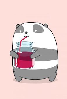 Panda boit une boisson gazeuse.