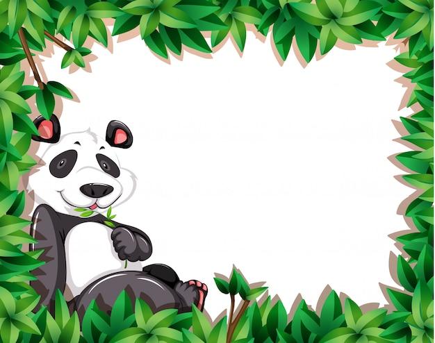 Panda sur cadre nature avec fond