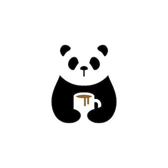 Panda café mug logo vector icon illustration