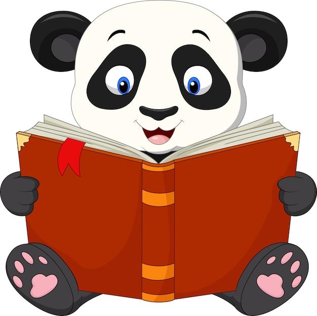 Panda cartoon lisant un livre