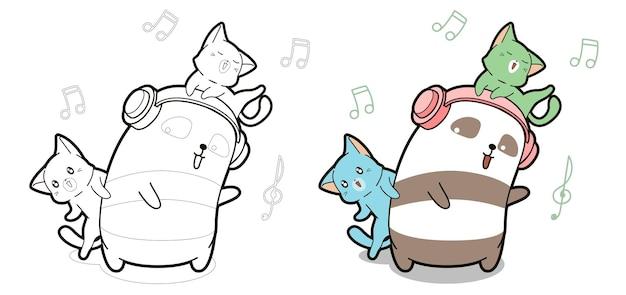 Panda et chats apprécient la page de coloriage de dessin animé de musique pour les enfants