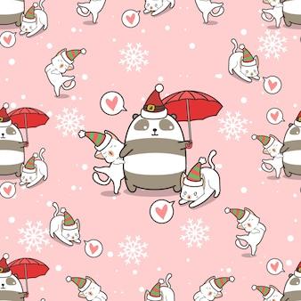 Panda et chats de modèle sans couture à noël