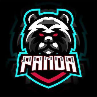 Panda en colère avec logo de jeu de mascotte de bouclier