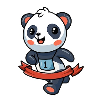 Panda court jusqu'au marathon de la ligne du ruban d'arrivée