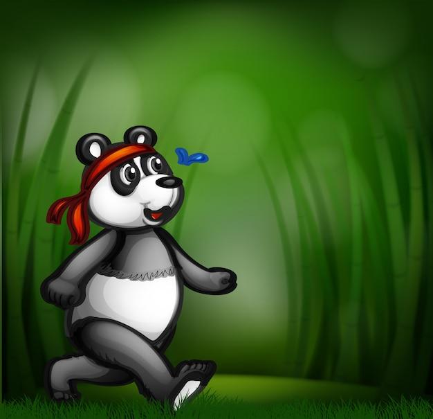 Panda dans la forêt de bambous