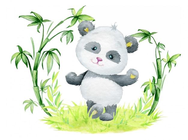 Panda, dansant, sur l'herbe, entouré de branches de bambou.