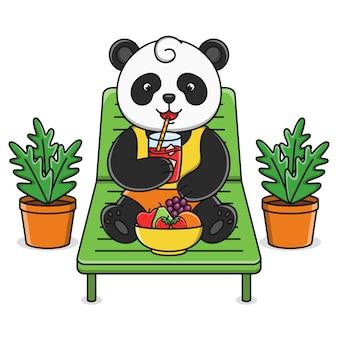 Panda de dessin animé mignon, boire du jus de fruits