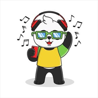Panda dessin animé mignon, écouter de l'illustration musicale