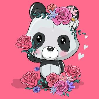 Panda de dessin animé mignon avec illustration vectorielle de fleurs