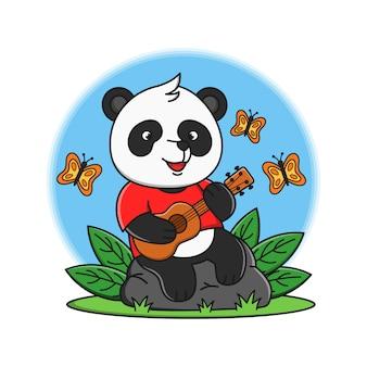 Panda de dessin animé mignon jouant illustration de guitare