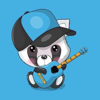 Panda de dessin animé mignon jouant une illustration vectorielle de guitare