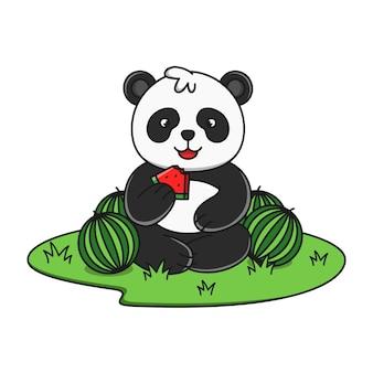 Panda de dessin animé mignon mangeant illustration de pastèque