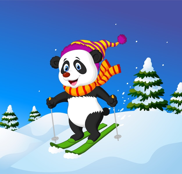 Panda de dessin animé ski sur une pente de montagne
