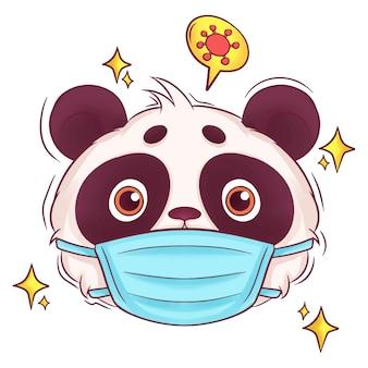 Panda dessiné main mignon avec masque