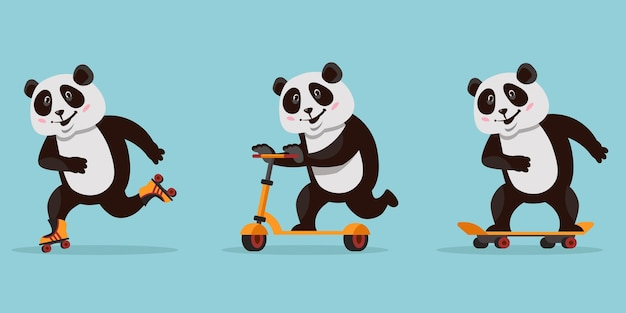 Panda drôle de bande dessinée. animal à cheval sur planche à roulettes, patins à roulettes et scooter.