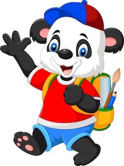 Panda drôle de dessin animé avec sac à dos