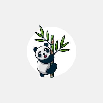 Panda grimpe sur une illustration de personnage en bambou