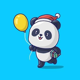Panda heureux avec un ballon et une boîte-cadeau