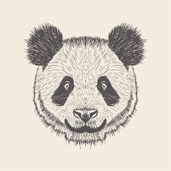 Panda illustration, design dessiné à la main.