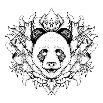 Panda d'illustration dessiné à la main noir et blanc avec bambou et ornement de gravure premium